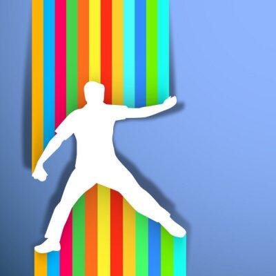 Cricket lanceur lancer de balle sur le fond abstrait, sport conc
