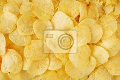 Papiers peints crispy potato chips snack texture background top view