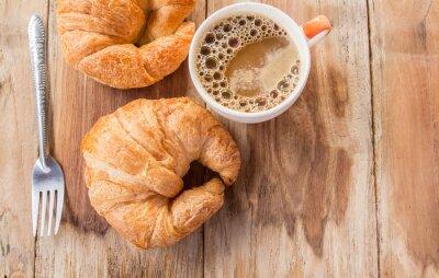 Papiers peints Croissant, café, petit déjeuner, vieux, bois, table
