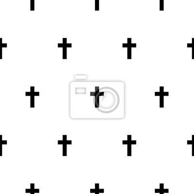 Croix noir et blanc simple motif vectorielle continue scandinave.