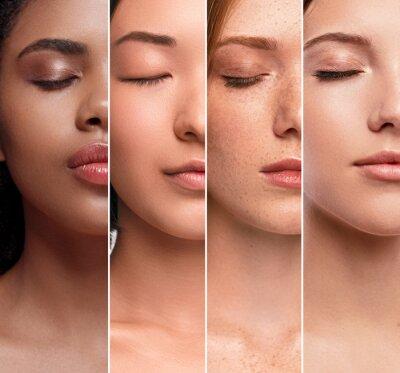 Papiers peints Crop multiethnic women with perfect clean skin