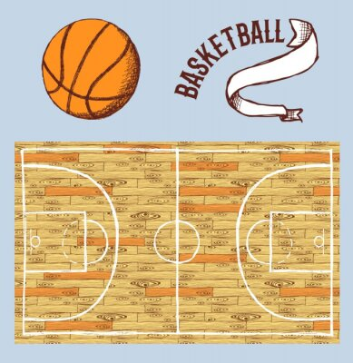 Papiers peints Croquis, basket-ball, ensemble, cour, balle