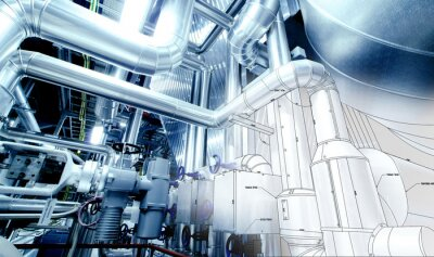 Papiers peints Croquis de conception de tuyauterie industrielle mélangé avec du matériel photo