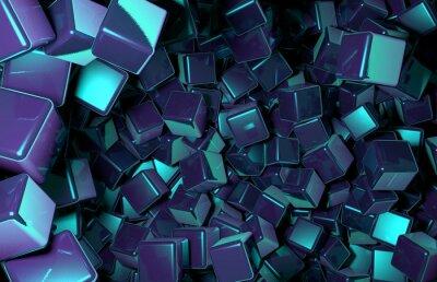 Papiers peints Cubes 3D rendus distribués aléatoirement dans l'espace, cubes bleu foncé