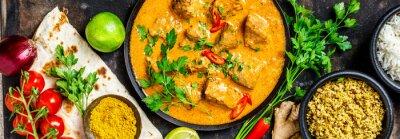 Papiers peints Curry traditionnel et ingrédients