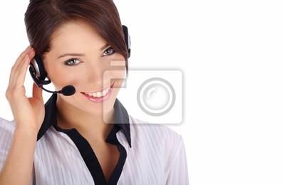 Cusomer fille de service avec un casque