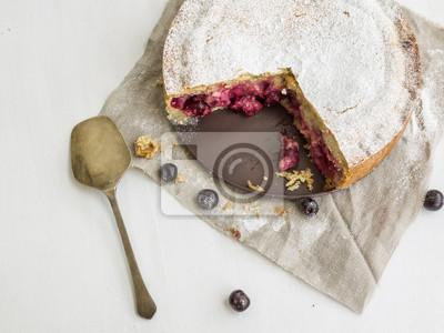 Custard cherry pie with sugar powder