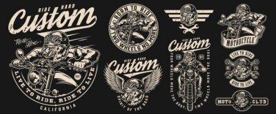 Papiers peints Custom motorcycle vintage labels set