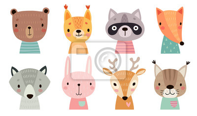 Papiers peints Cute animal faces. Hand drawn characters.