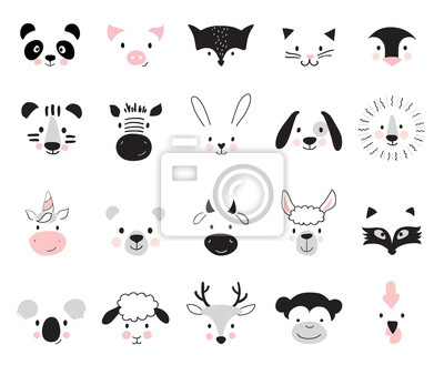 Papiers peints Cute animals for kids and baby t-shirts and wear, nursery posters for baby room, greeting cards. Scandinavian style, vector illustration