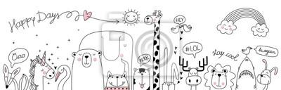 Papiers peints cute cartoon sketch animals
