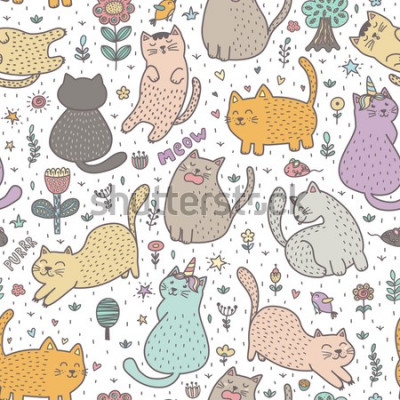 Papiers peints Cute cats in the summer seamless pattern. Great for cards, invitations, fabric and textile. Vector illustration