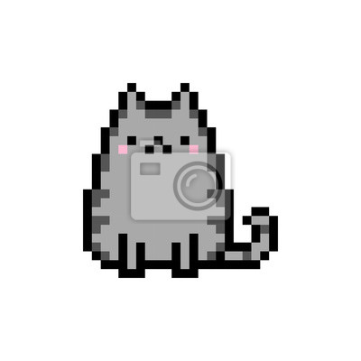 Papiers Peints Cute Chaton Animal Domestique Pixel Art Vecteur Isolé