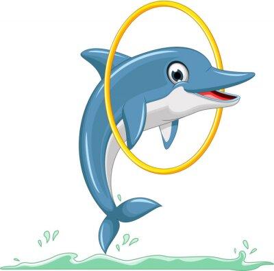 Papiers peints cute dolphin cartoon jumping