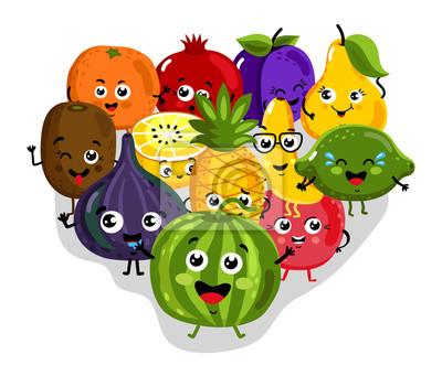 Fruit Dessin cute, fruit, dessin animé, caractères, isolé, vecteur, illustration