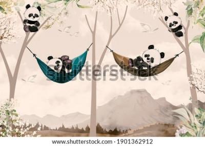 Papiers peints cute pandas lying in hammock for child room wallpaper design