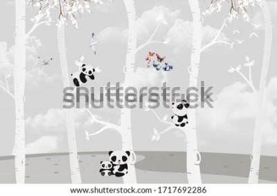 Papiers peints Cute pandas playing in the jungle