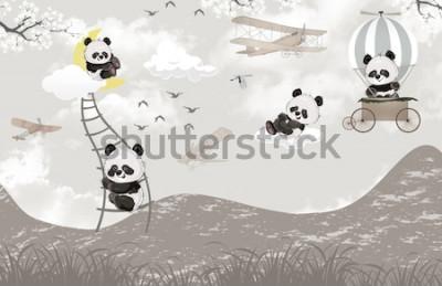 Papiers peints cute pandas playing in the sky kids room wallpaper design