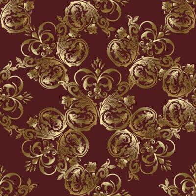 Damasse Baroque Rouge Fonce Medieval Vecteur Floral Motif Sans