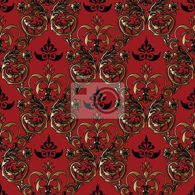 Damasse Baroque Rouge Fonce Vecteur Floral Medieval Fond Transparent
