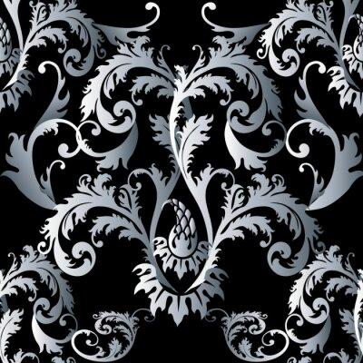 Damasse Baroque Vecteur Floral Noir Motif Seamless Fond Decran