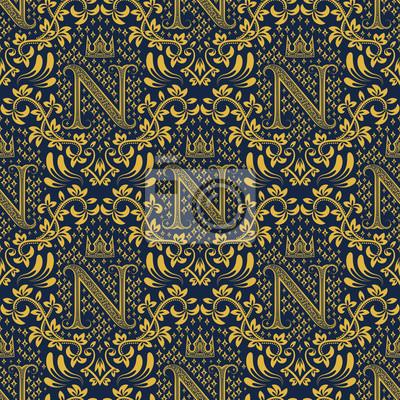 Damasse Seamless Modele Repeter Fond Ornement Floral Bleu Papier