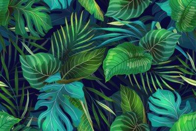 Papiers peints Dark pattern with exotic leaves