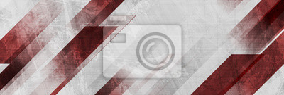 Papiers peints Dark red and grey grunge stripes abstract banner design. Geometric tech vector background
