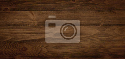 Papiers peints Dark stained wood boards with grain and texture. Flat wood background with parallel horizontal lines.