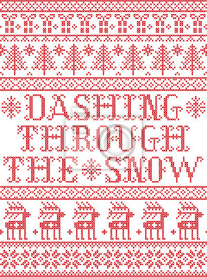 Dashing Through the Snow  pattern with Scandinavian, Nordic festive winter pasterns in cross stitch with heart, snowflake, snow, Christmas tree, reindeer, star, forest  in white and red