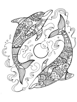 Coloriage Crabe Dauphin.Dauphin Pour Colorier Livre Pour Adultes Vecteur Papier Peint