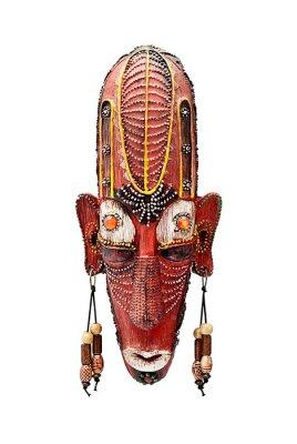 Décoratif masque en bois de souvenir, isolé sur blanc.
