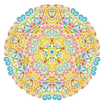 Papiers peints Dekoratives élément de Vektor - fleurs, fleurs et abstrait Mandala Muster, isoliert auf Weißem Hintergrund. Coloré, résumé, décoratif, Motif, orné, Motif, conception, éléments,