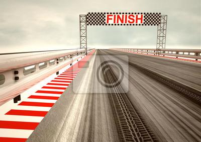 dérive pneu sur la race la ligne d'arrivée du circuit