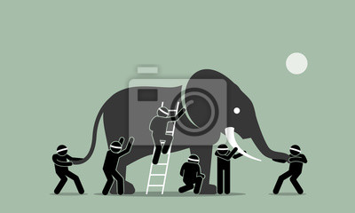 Papiers peints Des aveugles touchant un éléphant. L'illustration d'illustrations vectorielles illustre le concept de perception, d'idées, de points de vue, d'impression et d'opinions de différentes personnes selon d