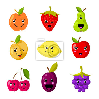 Des Personnages De Vecteurs De Fruits Mignons Avec Des Visages