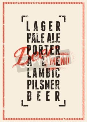 Papiers peints Design de menu de bière. Affiche grunge vintage de bière de style. Illustration vectorielle.