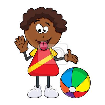 Dessin Animé Garçon Noir Africain Montrant La Langue Avec Ballon