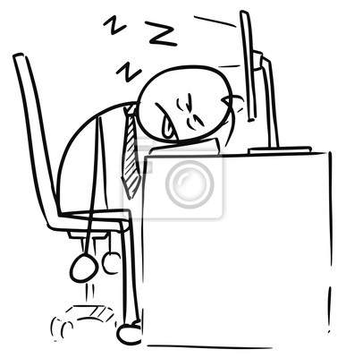 Dessin Anime Homme Dormir Ordinateur Clavier Papier Peint