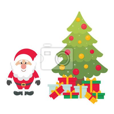 Papiers Peints Dessin Animé Mignon Père Noël Avec Sapin De Noël Et Cadeaux