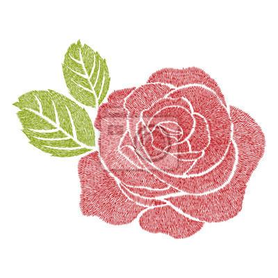 Papiers Peints Dessin Dart De Broderie à La Rose Rouge Pour Vêtements Vecteur