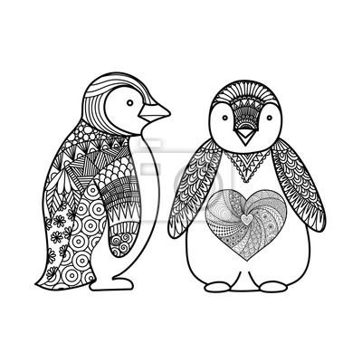 Dessin D Art De Ligne De Deux Pingouins Pour Le Livre De Coloriage Papier Peint Papiers Peints Ailier Pingouin Coloration Myloview Fr