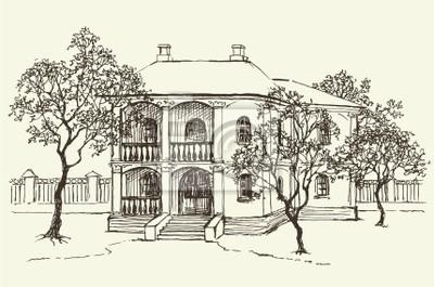 Papiers peints: Dessin de croquis de la vieille maison parmi le verger