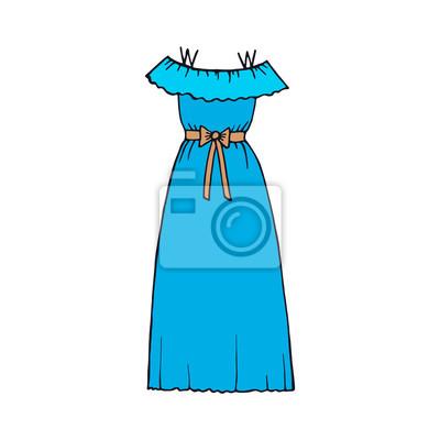 Dessin De La Main Robe Bleue Papier Peint Papiers Peints Myloview Fr