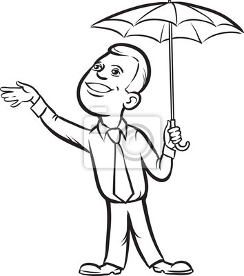 Dessin Parasol dessin du tableau blanc - homme daffaires avec un parasol vérifier