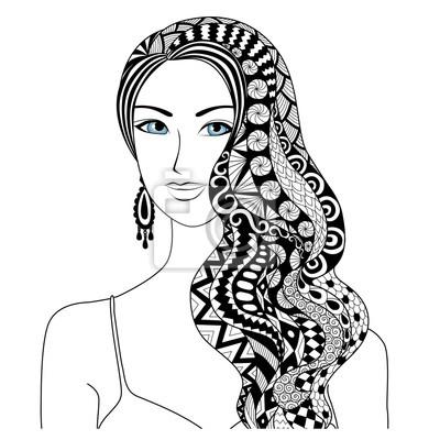 Dessin Femme Sexy Zentangle Coiffure Pour Coloriage Livre Pour
