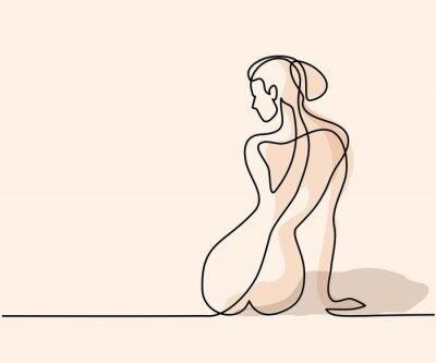 Papiers peints Dessin linéaire continu. Femme assise en arrière. Illustration vectorielle de couleur douce