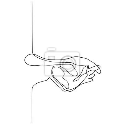 Papiers Peints Dessin Linéaire Continu Garde Les Mains Ensemble Illustration