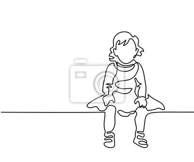 Papiers Peints Dessin Linéaire Continu Petite Fille Habillée Assise Illustration
