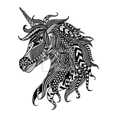 Papiers Peints Dessin Unicorn Zentangle Style Coloration Livre Tatouage